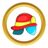 Helmet of firefighter vector icon. In golden circle, cartoon style isolated on white background Stock Photos