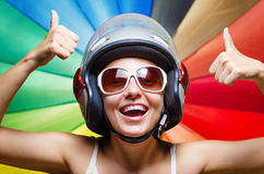 Funny girl in helmet having fun Royalty Free Stock Photo