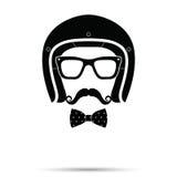 Helmet, Glasses , Bowtie and Mustache man Set. Vector illustrati Royalty Free Stock Images