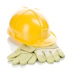 Helmet on gloves Royalty Free Stock Photo