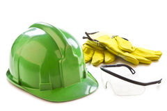 Helmet, gloves and safety glasses Royalty Free Stock Image