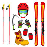 Helmet, gloves, ski, boots, pads, ice pick in flat style. Stock Images