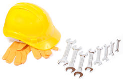 Helmet, gloves and spanners Royalty Free Stock Photos