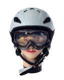 Helmet and goggles skier Stock Photos