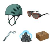 Helmet, goggles, wedge safety, peaks in the clouds.Mountaineering set collection icons in cartoon style vector symbol. Stock illustration Stock Photography