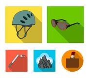 Helmet, goggles, wedge safety, peaks in the clouds.Mountaineering set collection icons in flat style vector symbol stock. Illustration Stock Photo