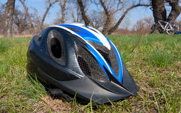 Helmet on grass Royalty Free Stock Photos