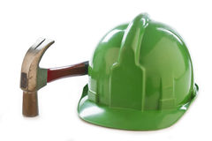 Helmet and hammer Stock Photo