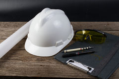 Helmet harm for engineer. For engineers white helmet harm Stock Image
