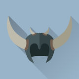 Helmet Headpiece with Horns. Medieval Armour. Helmet headpiece with horns isolated. Shield for game. Medieval armour. Weapon symbol icon. War concept. For Stock Photography