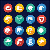Helmet Icons Flat Design Circle. This image is a illustration and can be scaled to any size without loss of resolution Stock Photos