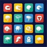 Helmet Icons Flat Design Stock Photography
