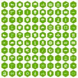 100 helmet icons hexagon green. 100 helmet icons set in green hexagon isolated vector illustration Royalty Free Stock Photo