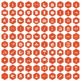 100 helmet icons hexagon orange. 100 helmet icons set in orange hexagon isolated vector illustration Stock Illustration