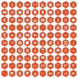 100 helmet icons hexagon orange. 100 helmet icons set in orange hexagon isolated vector illustration Royalty Free Stock Photo