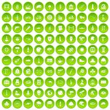 100 helmet icons set green circle. Isolated on white background vector illustration Stock Photos