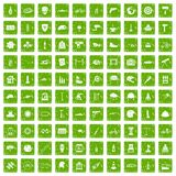 100 helmet icons set grunge green. 100 helmet icons set in grunge style green color isolated on white background vector illustration Stock Image
