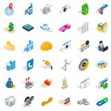 Helmet icons set, isometric style. Helmet icons set. Isometric style of 36 helmet vector icons for web isolated on white background Stock Image