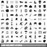100 helmet icons set, simple style Stock Photography