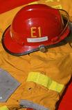 Helmet and Jacket of Fireman Stock Photography