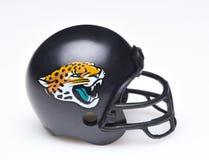 Helmet for the Jacksonville Jaguars. IRVINE, CALIFORNIA - AUGUST 30, 2018: Mini Collectable Football Helmet for the Jacksonville Jaguars of the American Football stock image