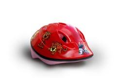 Helmet for kids. Red bike helmet for kids isolated on white Royalty Free Stock Photography