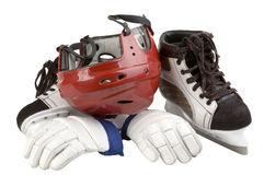 Helmet, leggings, skates. Head protection, hand protection athlete Royalty Free Stock Photography