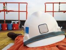 Helmet is a life of operator Stock Photo
