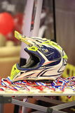 Helmet and medals on table Royalty Free Stock Photos