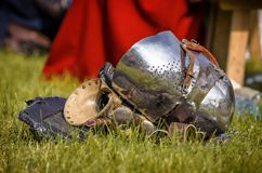 Helmet of the medieval knight Royalty Free Stock Photos