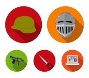 A helmet of a medieval knight, a soldier`s helmet, a sword, an automaton uzi. Weapons set collection icons in flat style. Vector symbol stock illustration Royalty Free Stock Photography