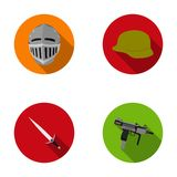 A helmet of a medieval knight, a soldier`s helmet, a sword, an automaton uzi. Weapons set collection icons in flat style. Vector symbol stock illustration Stock Photography