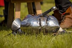 Helmet of the medieval knight Stock Images