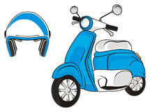 Helmet and moped. Blue moped with blue helmet Royalty Free Stock Image