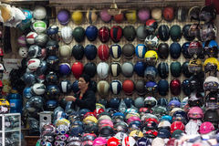 Helmet motorbike seller Stock Photos