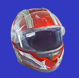 Helmet (Motorcycle). Motorcycle helmet isolated on blue background royalty free stock images