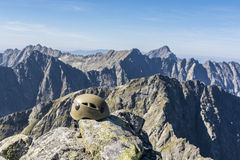 Helmet in the mountains Stock Photography