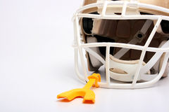Helmet mouthpiece. Helmet for game in the American football with a mouthpiece royalty free stock images