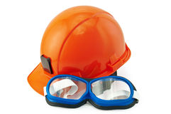 Helmet orange and goggles Stock Photos