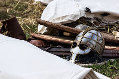 Helmet. And other equipment are resting before the battle Royalty Free Stock Image