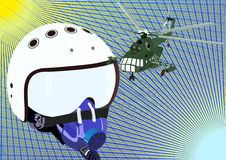 Helmet pilot and helicopter Royalty Free Stock Image