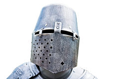 Helmet and plate armor of the medieval knight Stock Image