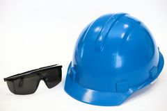 Helmet and points of a protection frame Royalty Free Stock Photo