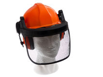 Helmet. Protection helmet lumberjack on white backround Royalty Free Stock Photo