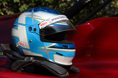 Helmet and protection of racing driver Stock Photos