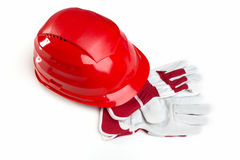 Helmet and protective gloves Royalty Free Stock Images