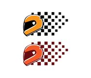 Helmet racing championship automotive motorcycle and kart vector logo design. Template Stock Image