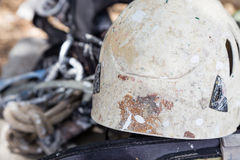 Helmet with rope and tools for industry alpinism Stock Photos