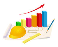 Helmet, ruler and growing graph on house plan Stock Images