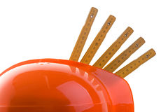 Helmet and rulers abstract royalty free stock images